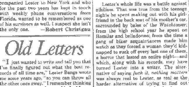 Old Letters: Lester Bangs 1948-82 (05/11/82)